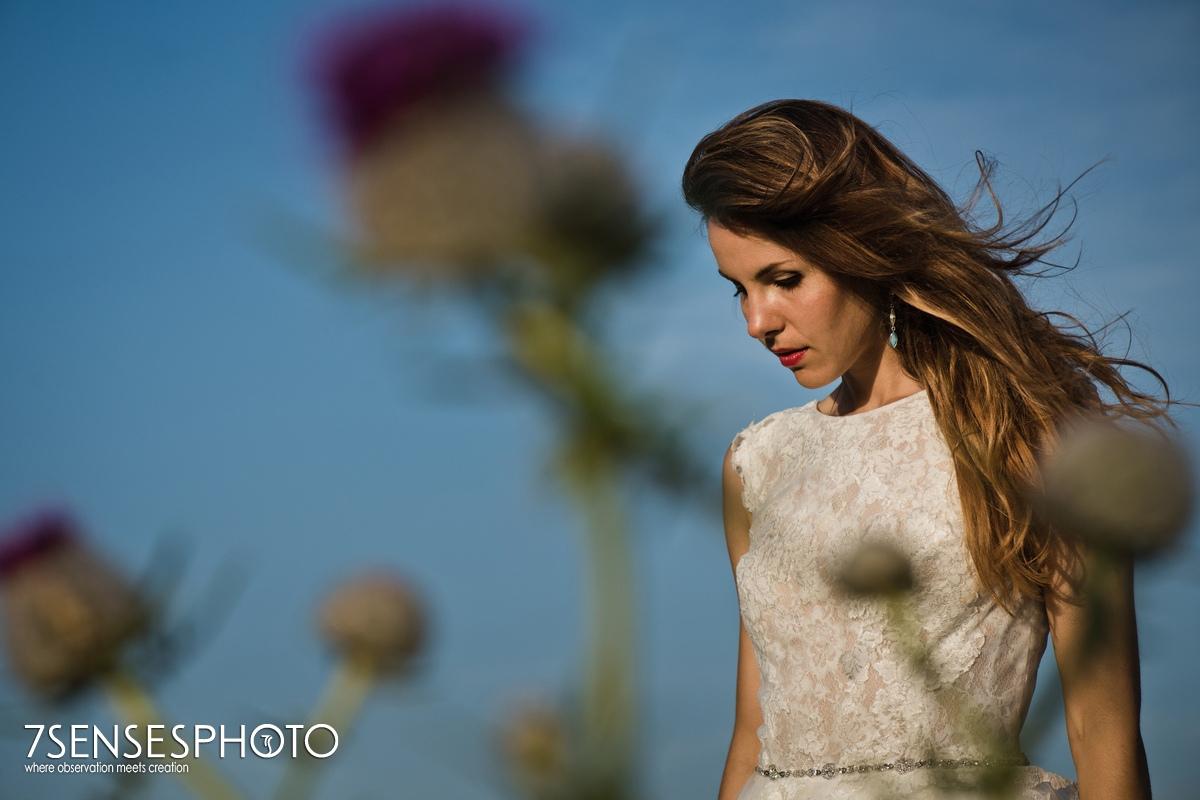 sesja ślubna w górach Panna Młoda wiatr we włosach