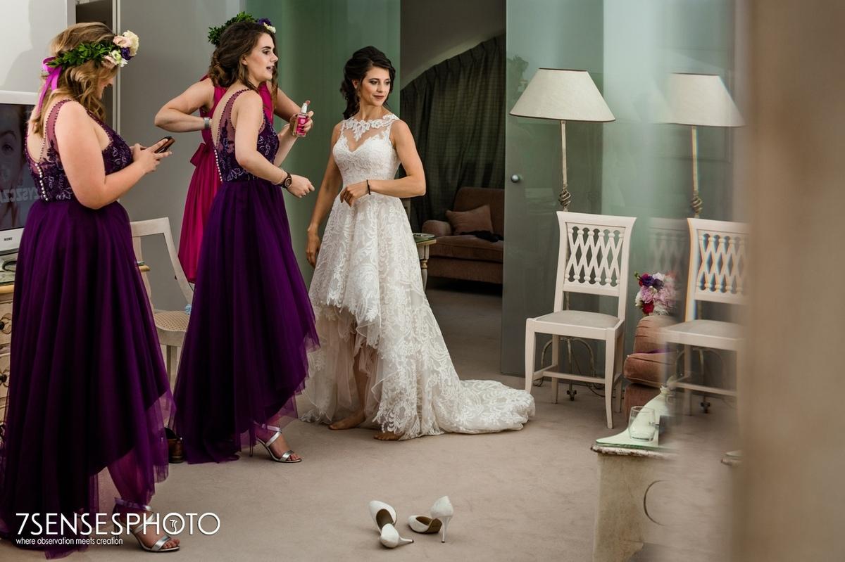 getting ready bride bridemates wedding ceremony