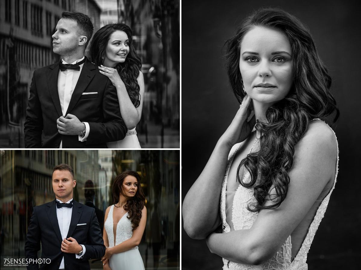 plener ślubny Warszawa elegancka modowa sesja para młoda miasto