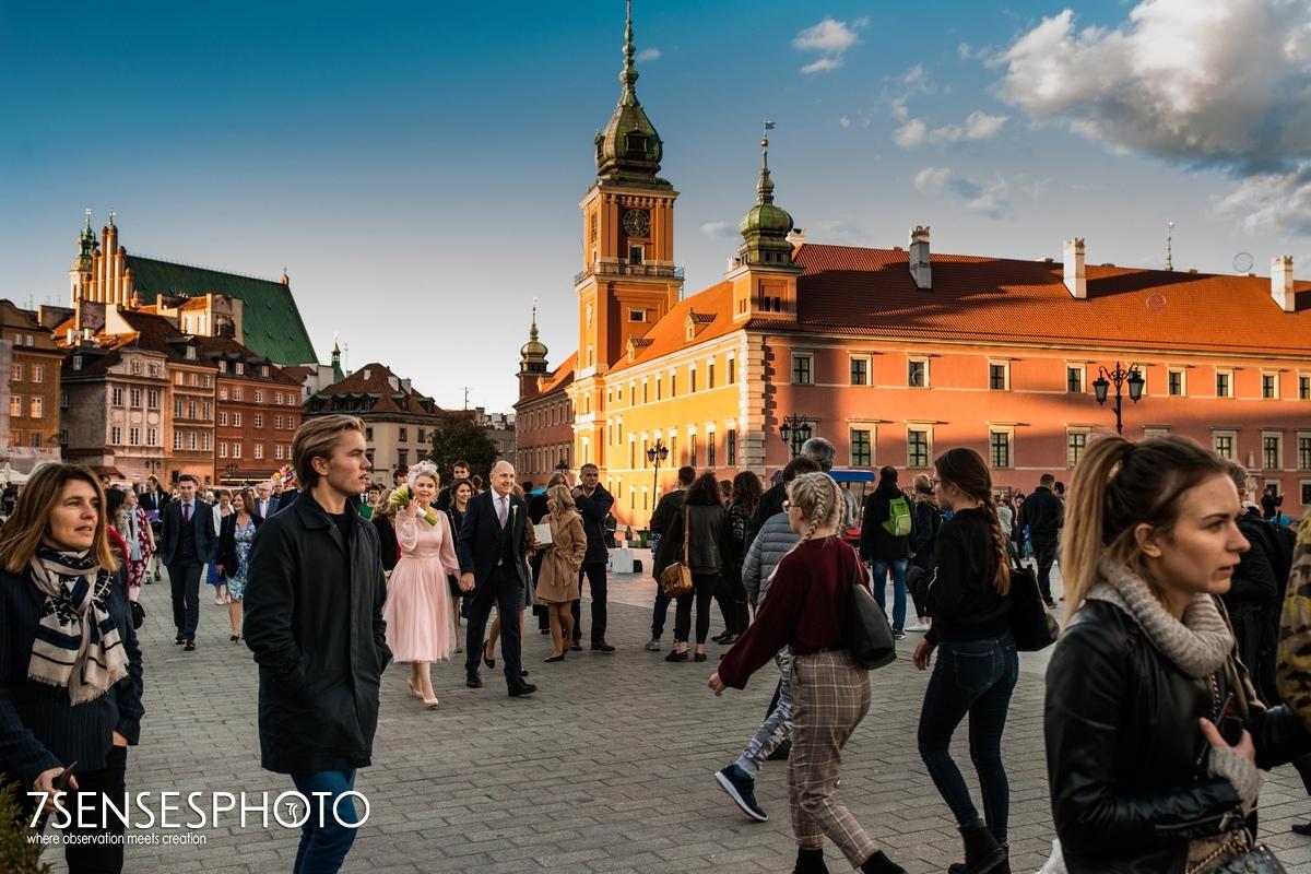 Warszawa fotoreportaż ślubny Stare Miasto Plac Zamkowy ślub wedding