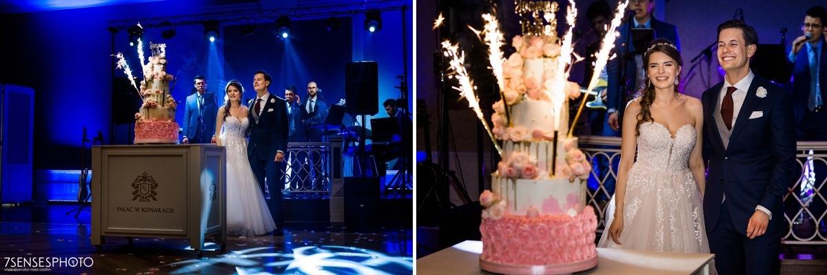 Panna Młoda suknia ślubna Stella York 6692 Pałac w Konarach dworek pod Kielcami tort weselny