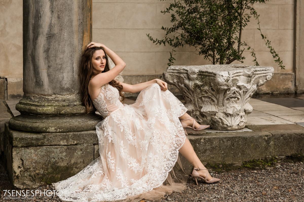 Park Romantyczny w Arkadii i Nieborowie sesja ślubna modowa plener panna młoda
