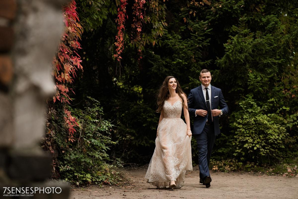 Park Romantyczny w Arkadii i Nieborowie sesja ślubna plener para młoda elegancko