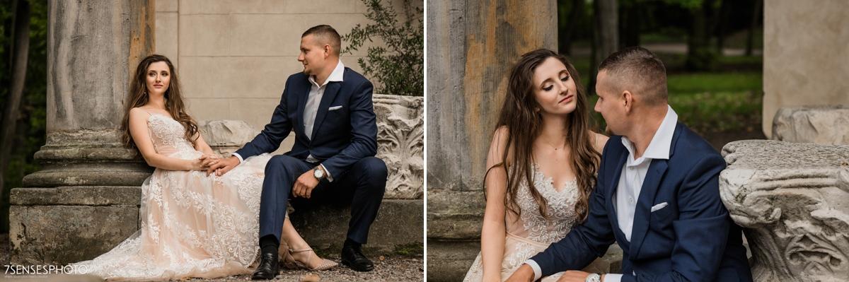 Park Romantyczny w Arkadii i Nieborowie sesja ślubna plener para młoda