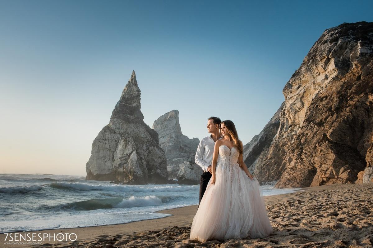 Praia da Ursa, Cabo da Roca, Portugalia, Lizbona, wyjątkowa sesja ślubna