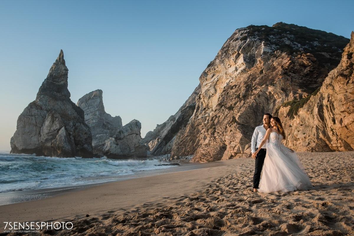 Praia da Ursa, Cabo da Roca, Portugalia, Lizbona, wyjątkowa, piękna sesja ślubna