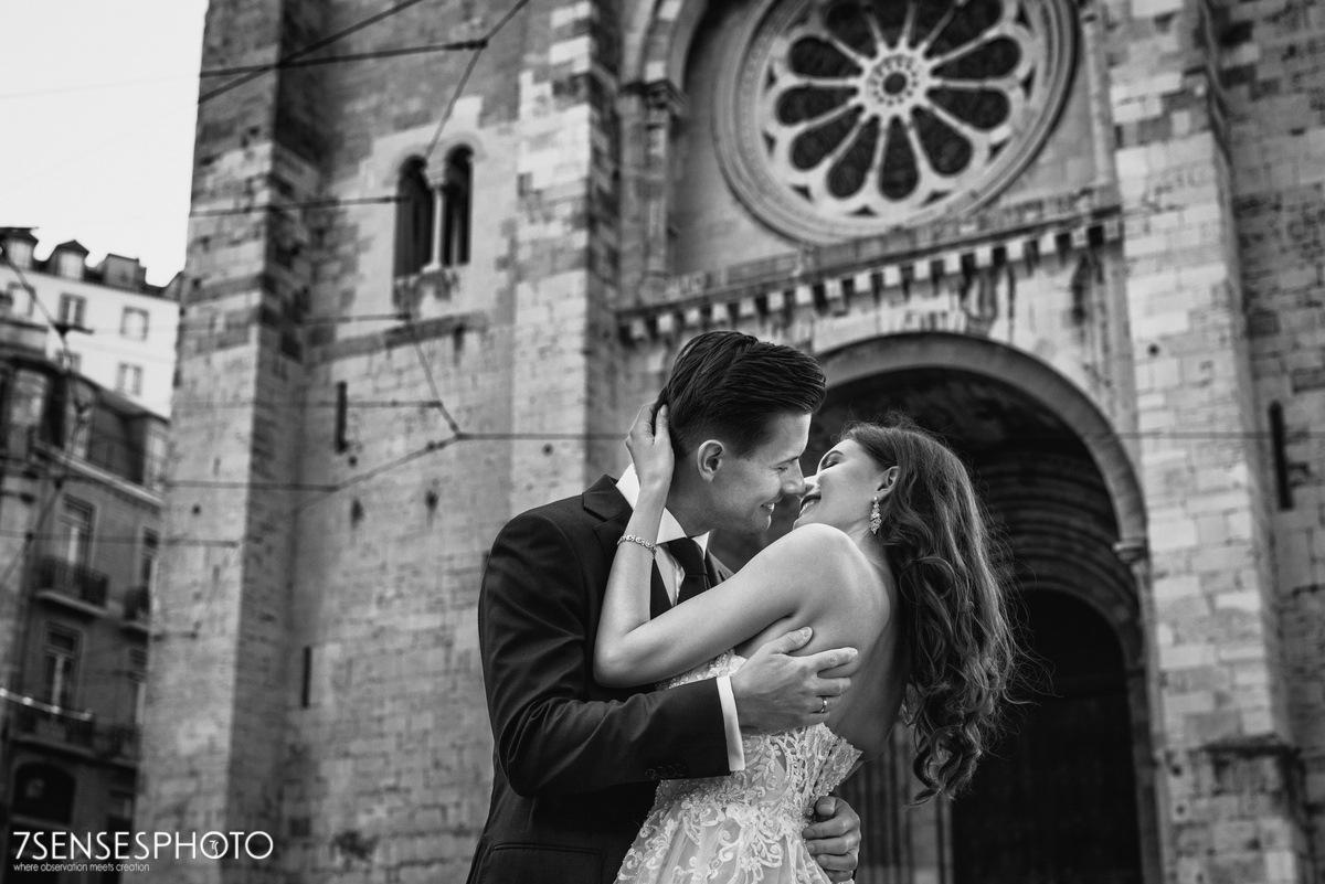 Sesja ślubna w Lizbonie, Portugalia, Katedra Se, Alfama