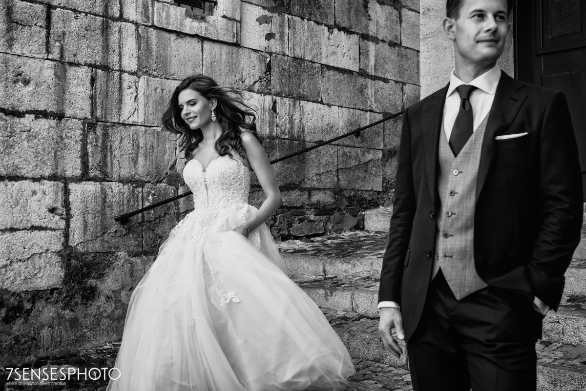 Romantyczna, wyjątkowa, klimatyczna sesja ślubna w Lizbonie, Portugalia, Zamek św. Jerzego, B&W